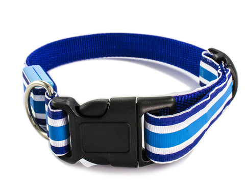 Color Stripes LED Flash Light Safety Pet Dog Collar Belt - Blue