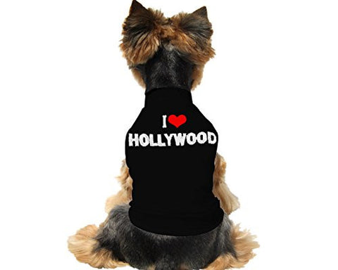 "Cute And Soft Emroidered ""I Love Hollywood"" Dog Shirt - Black"