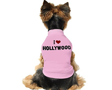 "Cute And Soft Emroidered ""I Love Hollywood"" Dog Shirt - Pink"