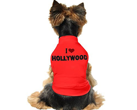 "Cute And Soft Emroidered ""I Love Hollywood"" Dog Shirt - Red"