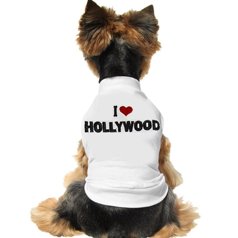 "Cute And Soft Emroidered ""I Love Hollywood"" Dog Shirt - White"