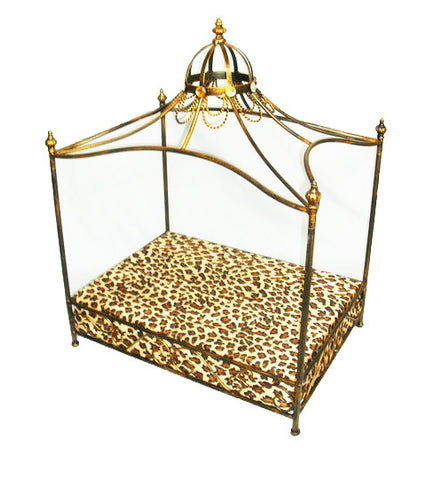 gold iron crown dog pet bed leopard