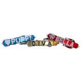 Metallic Personalized Rhinestone Slide Charm Dog Collar - Blue