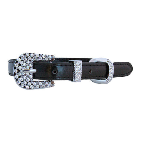 Metallic Personalized Rhinestone Slide Charm Dog Collar - Black
