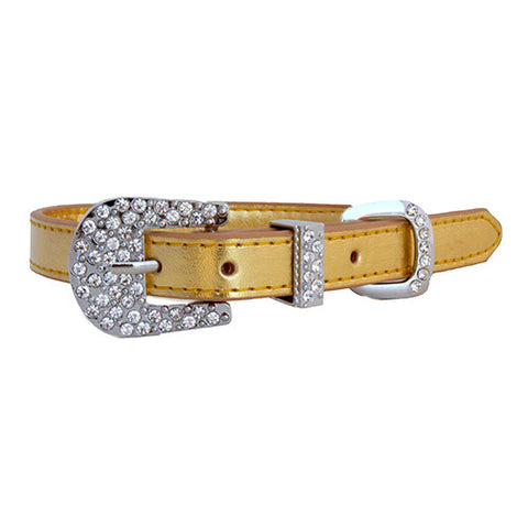 Metallic Personalized Rhinestone Slide Charm Dog Collar - Gold