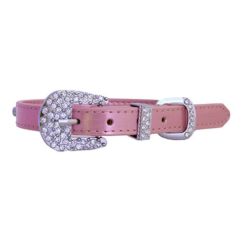 Metallic Personalized Rhinestone Slide Charm Dog Collar - Light Pink