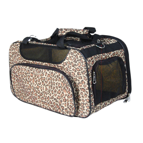 Outdoor Carrier for Pets Dog Cat Comfort Airlin Approved Travel Tote Soft-Side Bag - Leopard