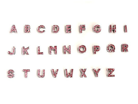 Pink Rhinestone Initial Letter Slide Charms from A-Z - 10MM - Silver