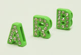 Clear Rhinestone Initial Letter Slide Charms from A-Z - 8MM - Neon Green