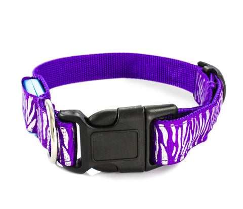 Zebra Print LED Flash Light Safety Pet Dog Collar Belt - Purple And Silver