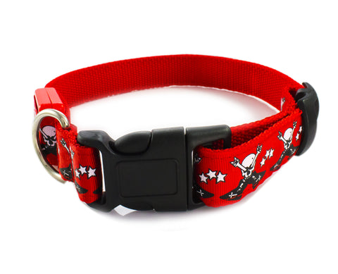 Skull Print LED Flash Light Safety Pet Dog Collar Belt - Red