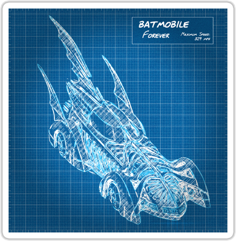 Batmobile Forever Sticker