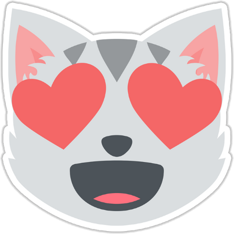 Smiling Cat Face With Heart Shaped Eyes Sticker