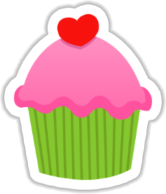Cupcake with Heart Sticker