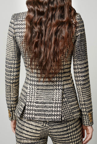 Patch Pocket Duchess Blazer In Glencheck Print