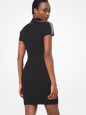 Logo Tape Ribbed Stretch Viscose Half-Zip Dress