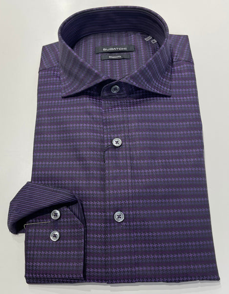 Bugatchi Shaped Fit - Purple Houndstooth