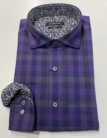 Bugatchi Shaped Fit - Purple Check