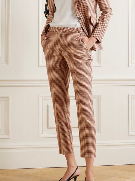Ludivine cropped houndstooth tweed straight-leg pants