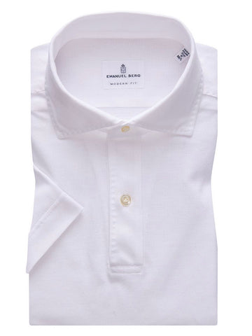 Pablo Slim Fit Short Sleeve Stretch Cotton Shirt - White