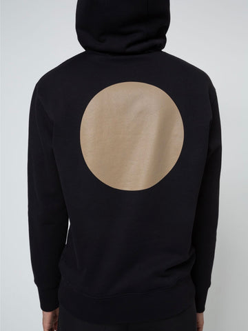 Cotton-fleece hoodie with reflective golden sun prints
