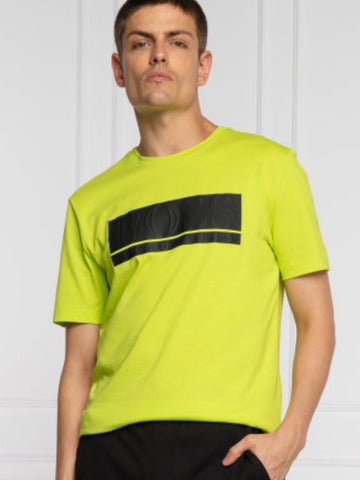 Cotton-blend jersey T-shirt with mixed-print block logo