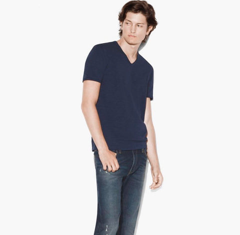 Raw Edge V-Neck - Navy
