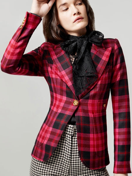 Patch Pocket Duchess Blazer in Deep Pink Tartan