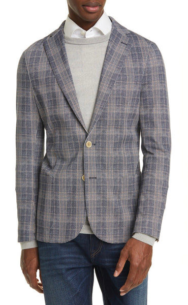 Trim Fit Plaid Stretch Sport Coat
