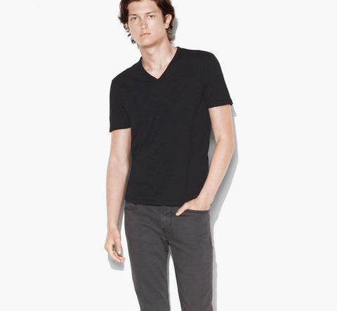 Raw Edge V-Neck - Black