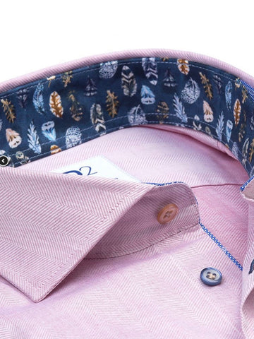Light Pink Herringbone Cotton Shirt - Feather Print Contrast