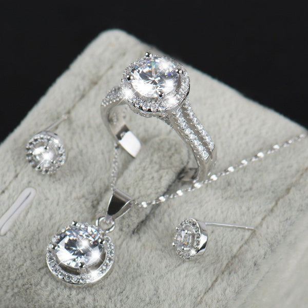 90% Off Wedding Sets For Brides 925 Sterling Silver AALevel CZ Stud Earrings Ring Necklace Bridal Set