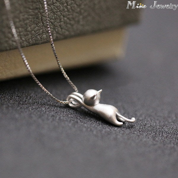 925 Sterling Silver Necklaces Cats Pendants&Necklaces Pure Sterling Silver 925 Kitty Necklace Collar Colar De Plata