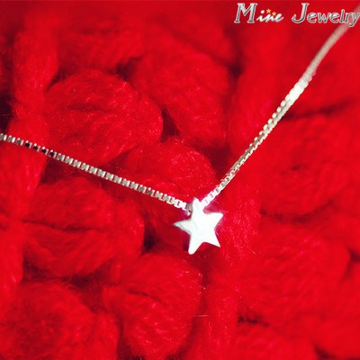 925 Sterling Silver Necklaces Star Pendant Necklace Women Collar Colar De Plata