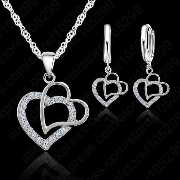 925 Sterling Silver Sets Set Women Heart Shape Pendant Necklace+Earrings Set Women Wedding