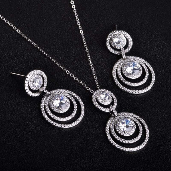 AAA Zircon Micro Pave Copper Jewelry Sets For Women Wedding Bridal Pearl Jewelry Round Pendant Necklace Dangle Drop Earrings Set