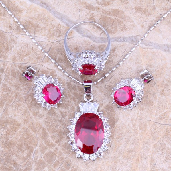 Amazing Red Ruby White Topaz Silver Jewelry Sets Earrings Pendant Ring Size 6 / 7 / 8 / 9 / 10 /11 / 12 Free Gift Bag S0417