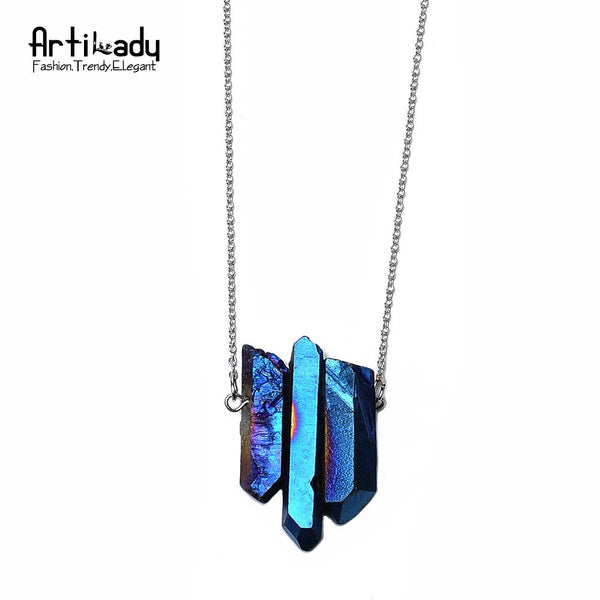 Artilady Crystal Pendant Necklaces Silver Chain Quartz Stone Necklace Women QM