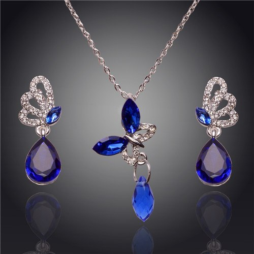 Austrian Crystal Butterfly Earrings Water Drop Pendant Women Sets Wedding Party