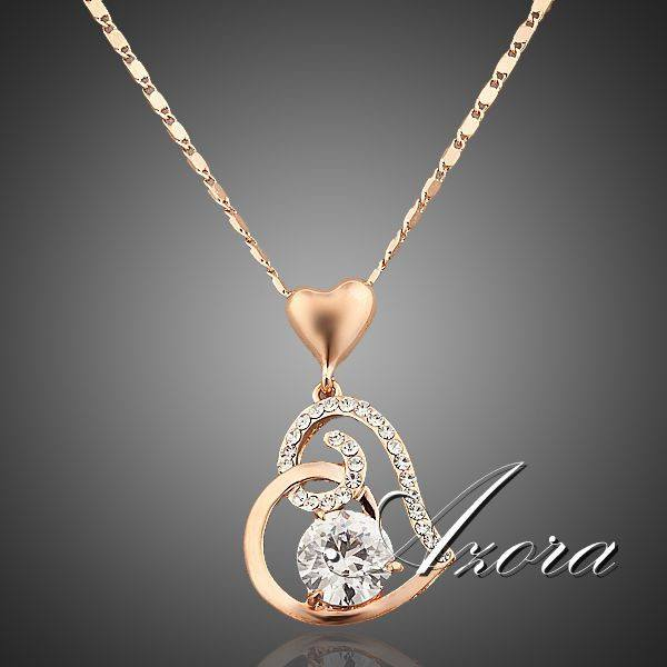 AZORA 18K Rose Gold Plated Stellux Crystals Heart Pendant Necklace For Valentine's Day Of Love TN0009