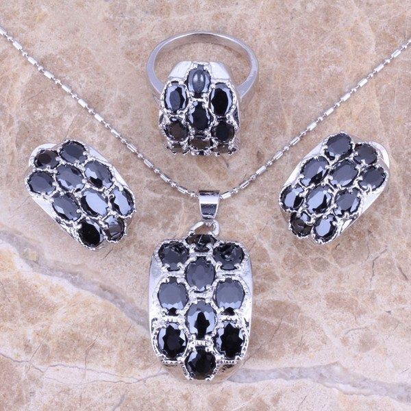 Black Sapphire Silver Jewelry Sets Earrings Pendant Ring For Women Size 5 / 6 / 7 / 8 / 9 / 10 Free Gift Bag S0013