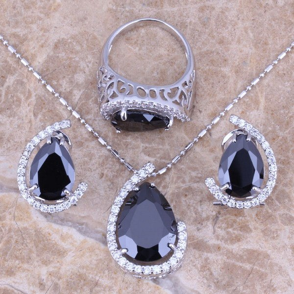 Black Sapphire White Topaz Silver Jewelry Sets Earrings Pendant Ring For Women Size 5 / 6 / 7 / 8 / 9 / 10 Free Gift Bag S0001