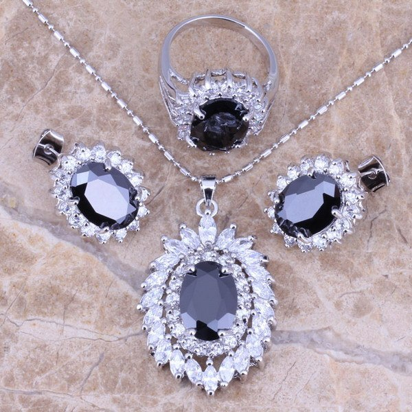 Black Sapphire White Topaz  Silver Jewelry Sets Earrings Pendant Ring For Women Size 5 / 6 / 7 / 8 / 9 / 10 Free Gift Bag S0062