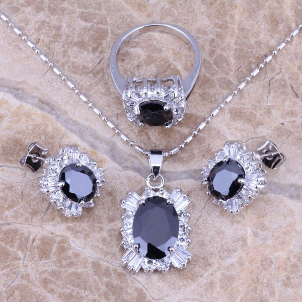 Black Sapphire White Topaz Silver Jewelry Sets Earrings Pendant Ring For Women Size 6 / 7 / 8 / 9 / 10 Free Gift Bag S0085