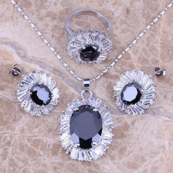 Black Sapphire White Topaz Silver Jewelry Sets Earrings Pendant Ring For Women Size 6 / 7 / 8 / 9 / 10 Free Jewelry Bag S0086