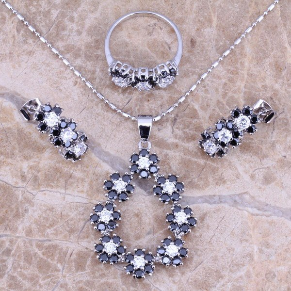 Black Sapphire White Topaz Silver Jewelry Sets Earrings Pendant Ring Size 6 / 7 / 8 / 9 / 10 S0146