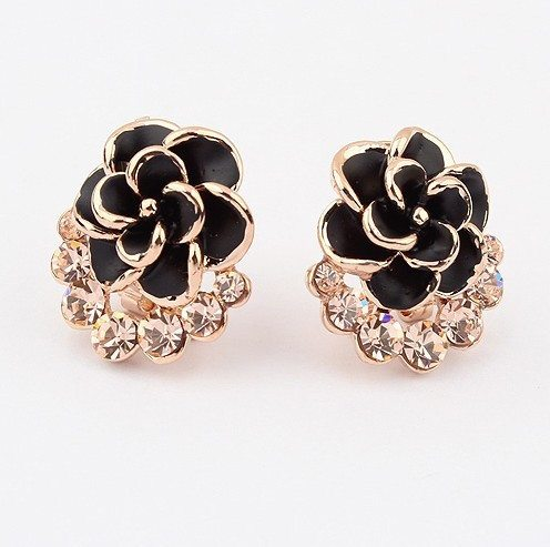 E166 Christmas Gifts Flower Shaped Stud Earrings Jewelry 18k Gold Plated Pave Crystals Romantic Enamel Earring For Women #1075