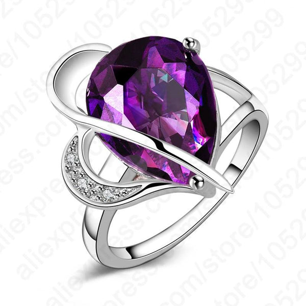 Elegant 925 Sterling Silver Cubic Zirconia Purple Water Drop Party Wedding Woman Ring