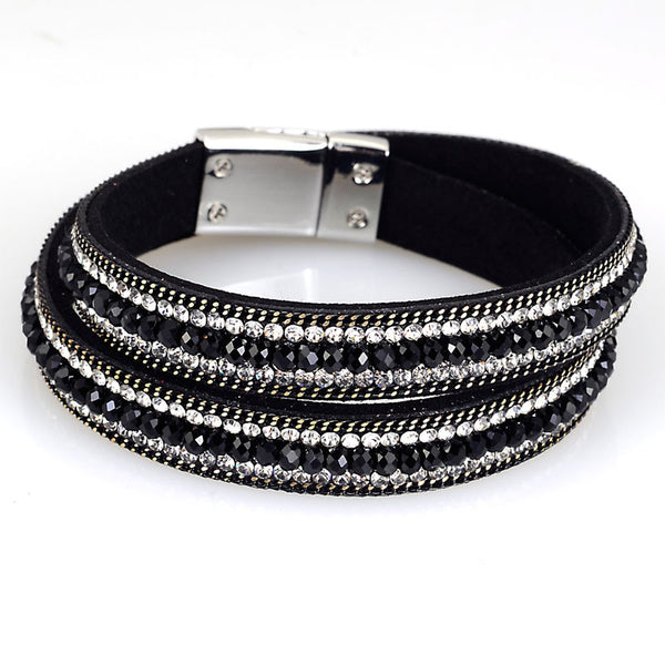 Double Wrap Magnetic Bracelet with Zinc Alloy Chain and Full Crystal Rhinestones