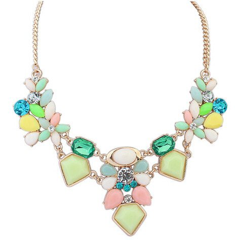 Resin Colorful Charm Gem Flower Necklaces & Pendants Woman Style 749
